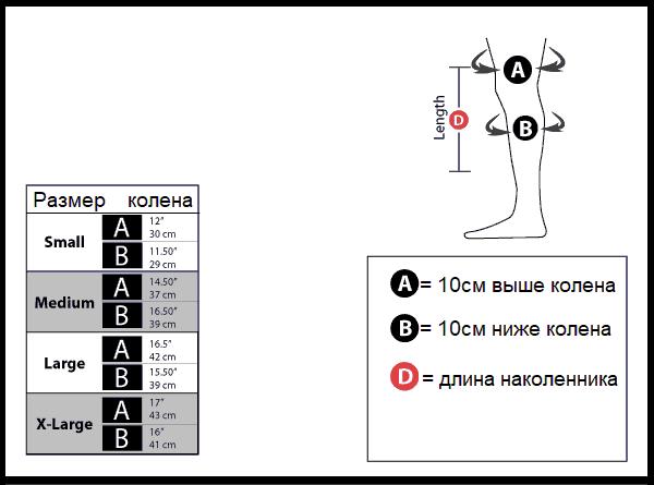 Как подобрать наколенники, таблица размеров