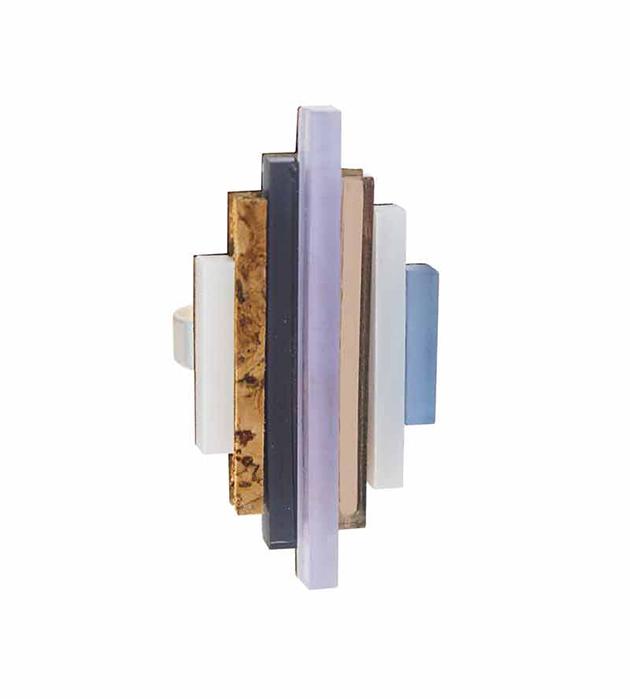 купите необычное наборное кольцо ручной работы Ripple ring Lavender Blue от английского бренда Wolf&Moon