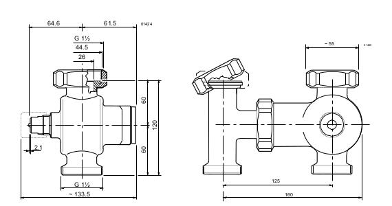 Размеры клапана Siemens VXB489R32-16A