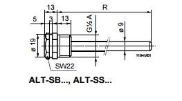 Размеры защитной гильзы Siemens ALT-SB150