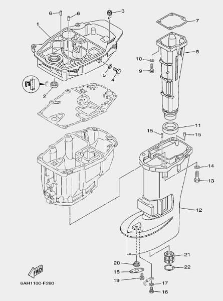 Запчасти дейдвуда для лодочного мотора F20 Sea-PRO