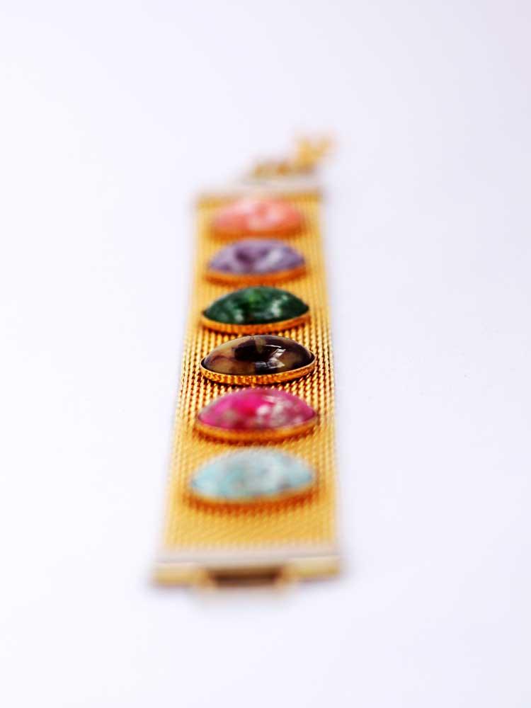купить винтажный золотой браслет с камнями-люцитами Sarah Coventry-1974 год рублей