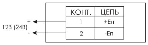 Схема подключения для пожарного табло МИНИ-12 / МИНИ-24 с подсветкой вниз