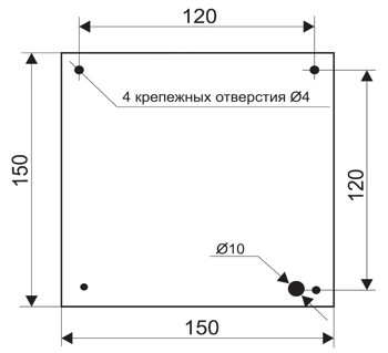 Установочные размеры для пожарного табло МИНИ-12 / МИНИ-24 с подсветкой вниз
