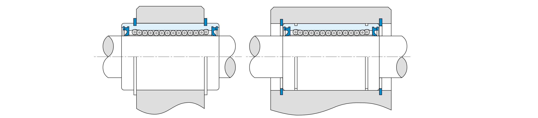 Монтаж шариковой втулки с помощью стопорных колец