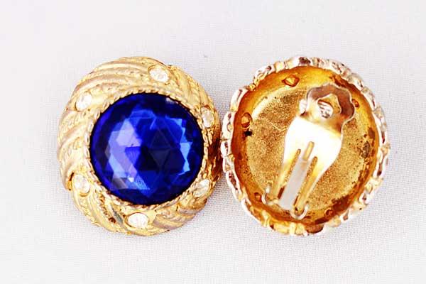 купить винтажные клипсы Givenchy с синими кристаллами винтаж 80е годы рублей