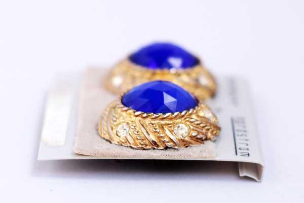 купить клипсы Givenchy с синими кристаллами винтаж 80е годы рублей