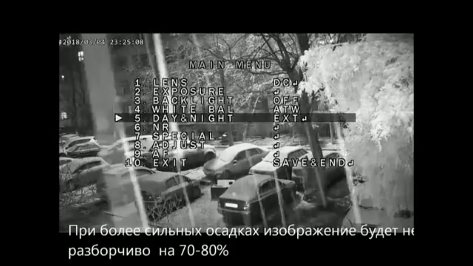 Работа обычной ИК камеры ночью с ИК прожектора помехи на видео
