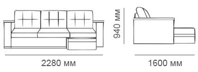 Габаритные размеры углового дивана Карелия-Люкс без стола