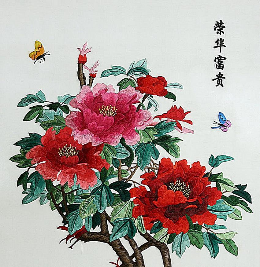 Вышивка шёлком по шёлку из Китая