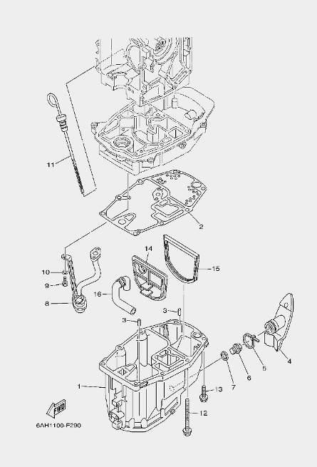 Запчастимасляного поддона лодочного мотора F20 Sea-PRO