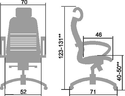 Размеры кресла Samurai K 2.03