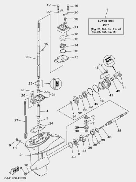 Запчасти редуктора лодочного мотора F20 Sea-PRO