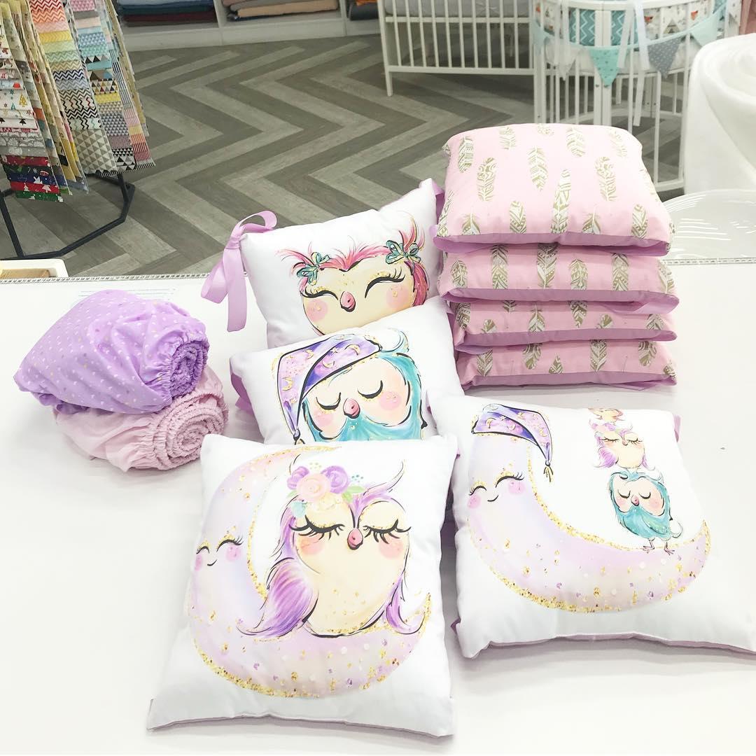 Бортики подушечки в кроватку девочке
