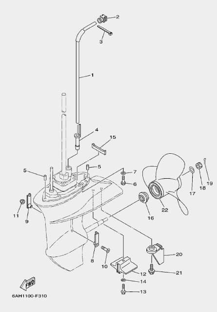 Запчасти редуктора для лодочного мотора F20 Sea-PRO