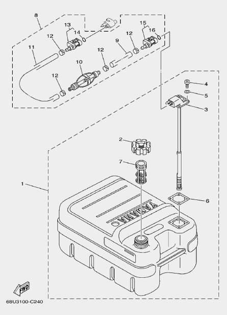 Запчасти топливного бака для лодочного мотора F20 Sea-PRO