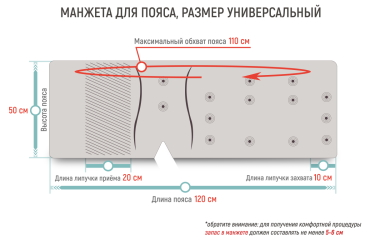 Размеры манжеты-пояс Gapo Multi-5 Ivory