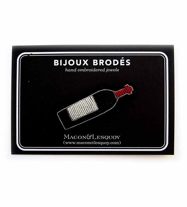 стильная брошь, расшитая вручную Bottle of wine от французского бренда Macon&Lesquoy