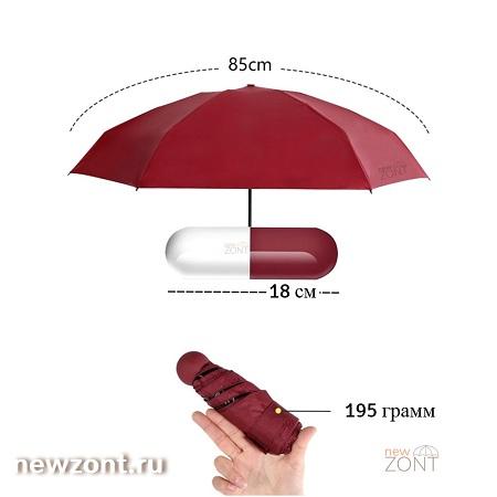 Диаметр купола мини-зонтика в капсуле, вес 195 грамм