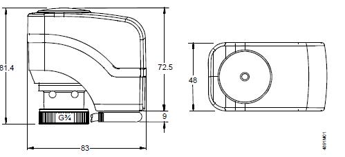 Размеры привода Siemens SSB31.1