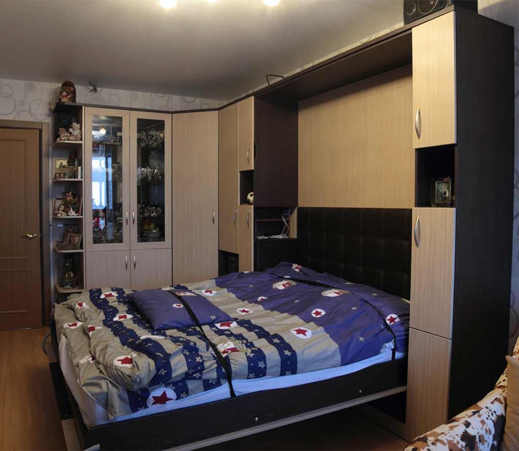 Шкаф-кровать трансформер Глория с прикроватными полками