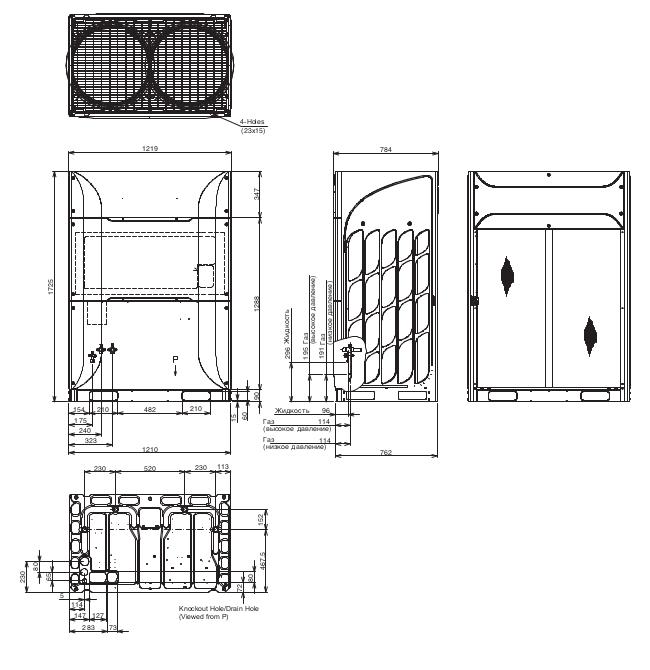 Размеры наружного блока Hitachi RAS-8FSNPE