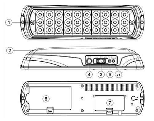 Устройство светодиодного аварийного светильника с аккумулятором ML- 118-30LED 1.8 (JETRON JL 02-30LED)