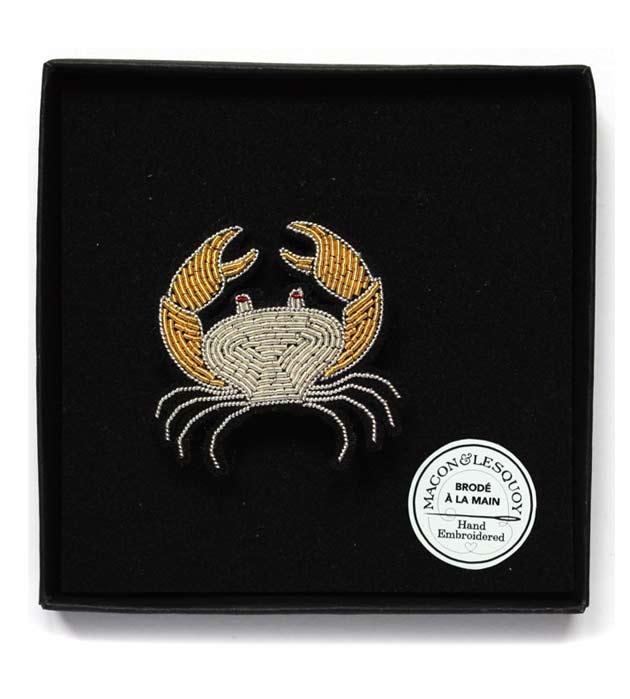оригинальная брошь-краб, расшитая вручную от французского бренда Macon&Lesquoy - Crab