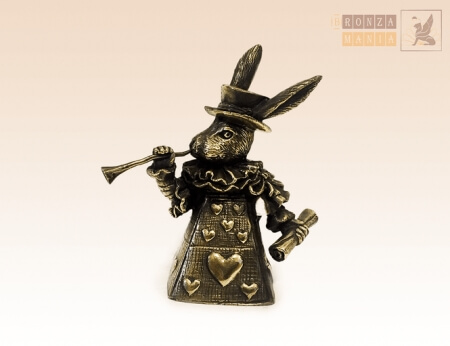 колокольчик большой Кролик из зазеркалья - бронзовый колокольчик