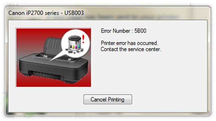 Canon код ошибки 5B00