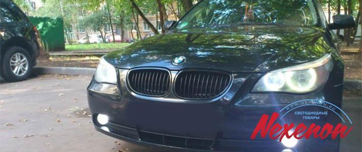 Светодиодные лампы в ангельские глазки BMW 5 e60