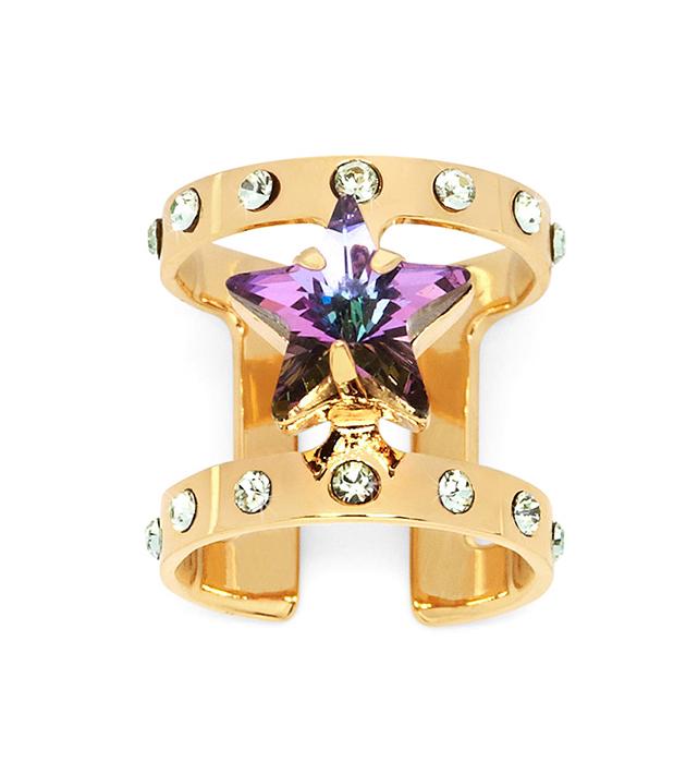 яркое блестящее кольцо на фалангу Star Midi  с кристаллами Swarovski от Maria Francesca Pepe