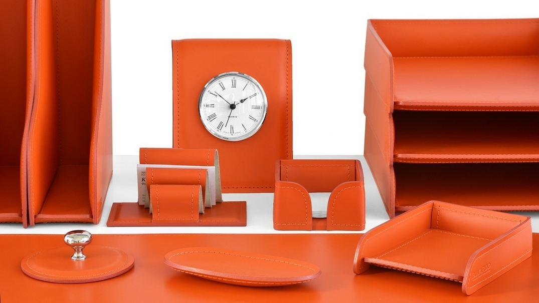 Наборы на стол руководителя Бизнес цвет кожи оранжевый.