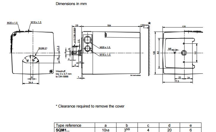 Размеры привода воздушной заслонки Siemens SQM10.16562