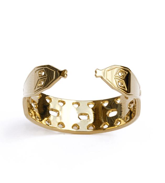 купите oткрытое кольцо из позолоченной латуни от французского бренда Chic Alors Paris - Bague Double Serpent