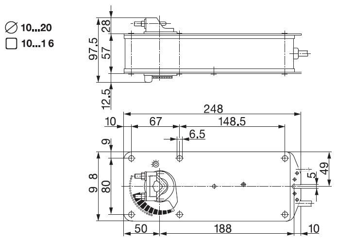 Размеры привода Belimo AF230-S