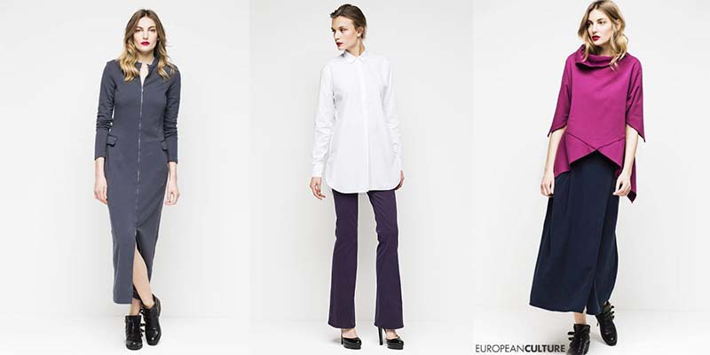 Платье European culture серого цвета, белая рубашка, сливовый джемпер