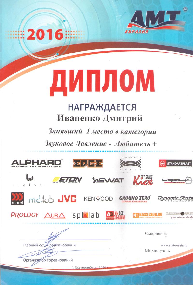 1 место АМТ Екатеринбург 2016