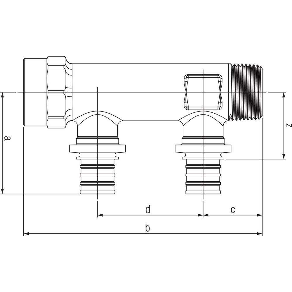 Гребенка распределительная REHAU на две трубы R/Rp 3/4-20 RX 13661301001