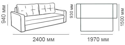 Габаритные размеры 3-местного дивана Макс П5