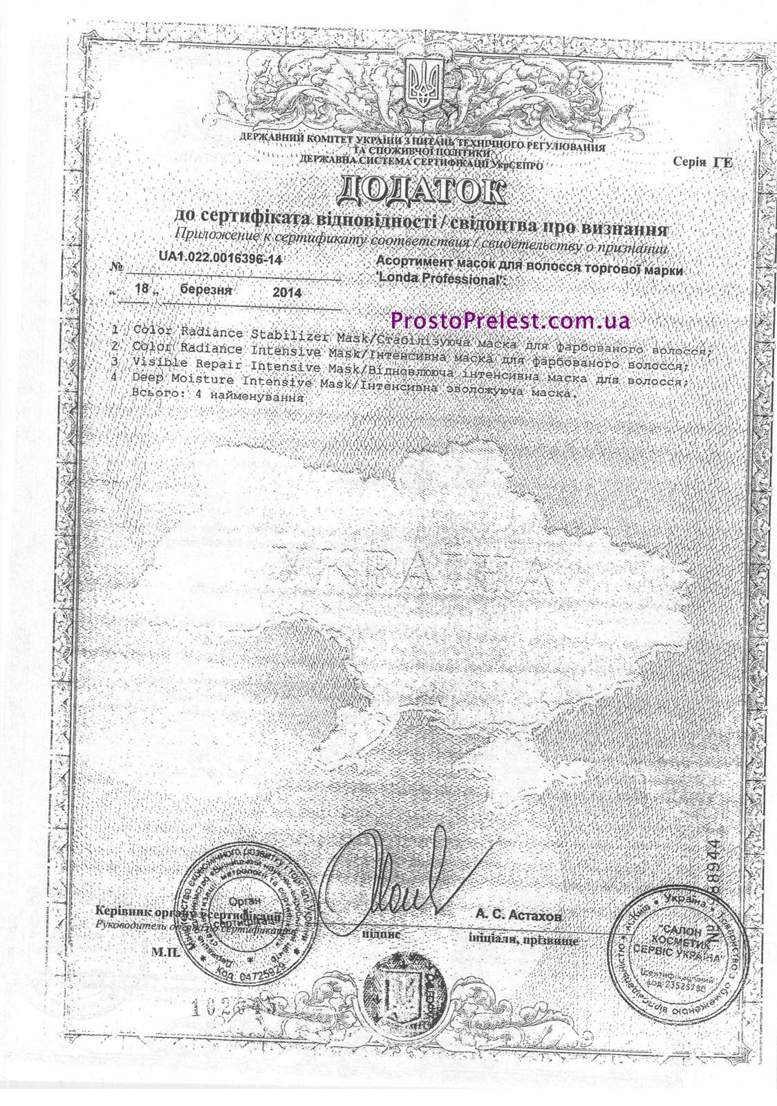 сертификаты Londa