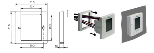 Размеры монтажной рамки Siemens_ARG70.3