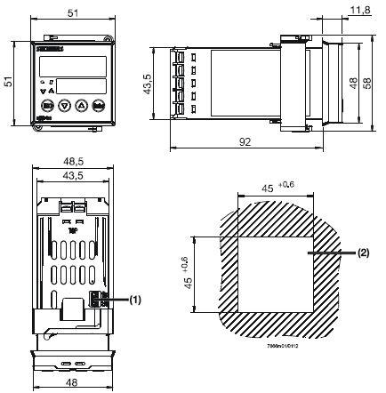 Размеры контроллера Siemens RWF50.20A9