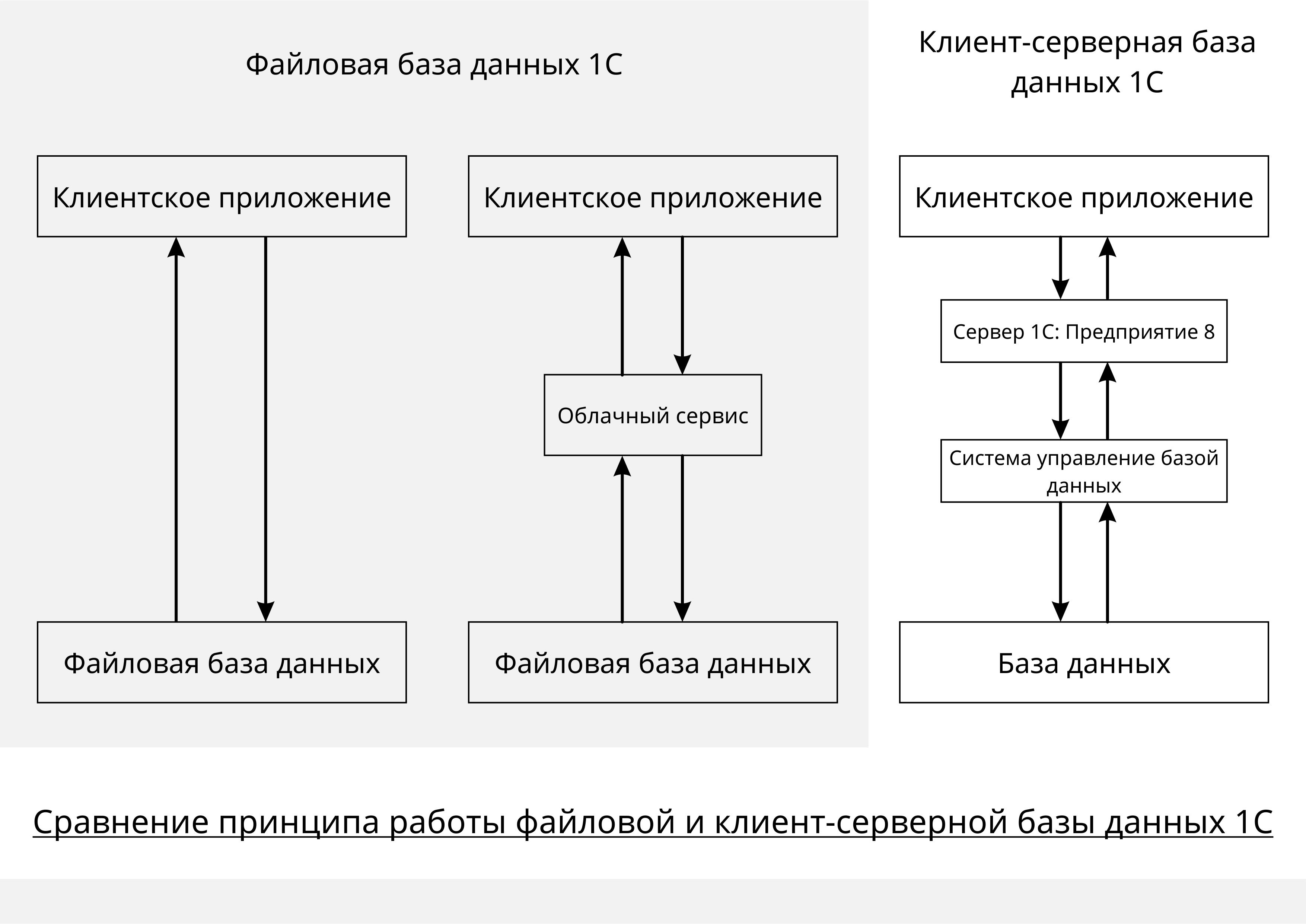 Принципы работы файловой и клиент серверной базы данных 1С