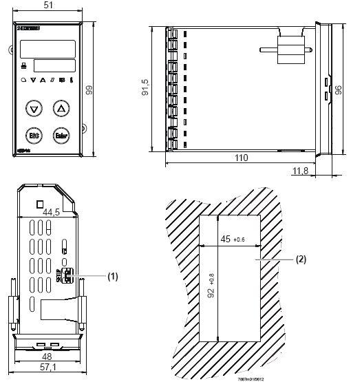 Размеры контроллера Siemens RWF55.50A9