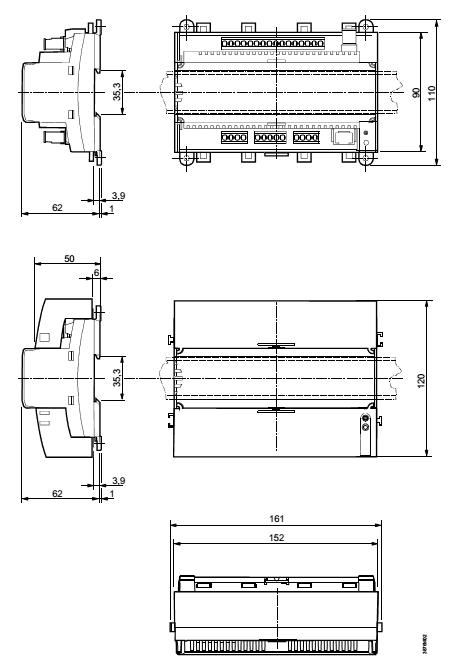 Размеры контроллера Siemens RXL39.1/FC-13