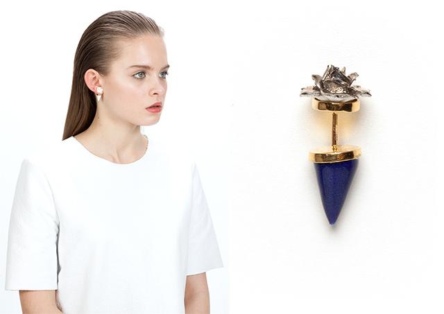 необычная моносерьга FLOWER PYRAMID EARRING BLUE от ANDRES GALLARDO