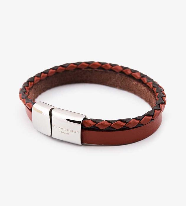 красно-коричневый браслет из натуральной кожи и стали oт Atlas Design - Will Red