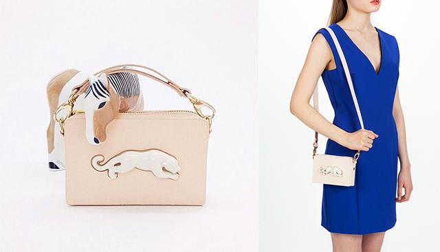 новая модель сумки с фарфоровой пантерой RECTANGULAR PANTHER BAG от ANDRES GALLARDO