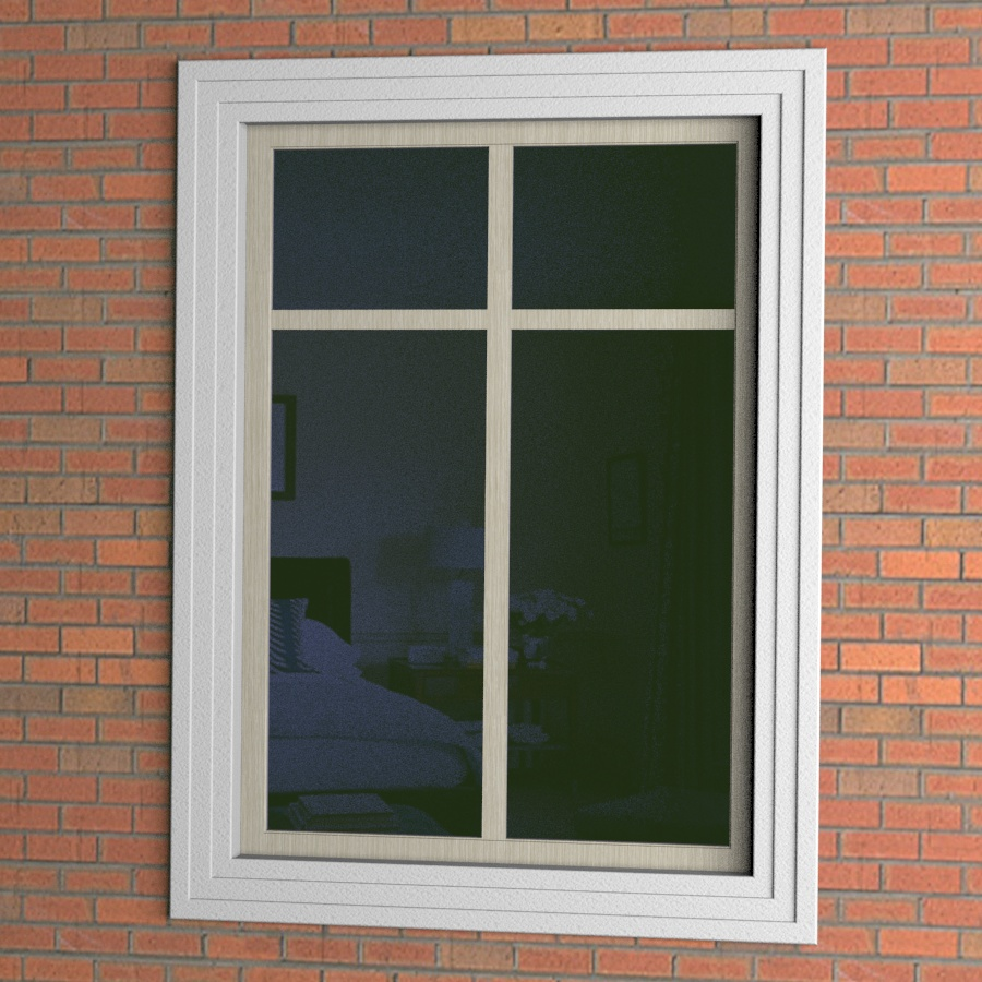 Прямоугольное окно с наличником из пенопласта